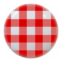Carolina Hardware and Decor, LLC - Red Gingham Ceramic Knob - New 1 1/2 inch ceramic cabinet, drawer, or furniture knob with mounting hardware included. Also works great in a bathroom or on bi-fold closet doors (may require longer screws).  Item can be wiped clean with a soft damp cloth.  Great addition and nice finishing touch to any room.