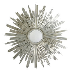 """Arteriors - Arteriors Galaxy Star Mirror - A double layer of vertical rays creates dramatic dimension on the sunburst-inspired Galaxy Star mirror by Arteriors. This oversized wall accent brings to mind the glamour of Hollywood Regency style in a contemporary silver finish. 41.5"""" Dia. x 1""""D; Iron and glass"""