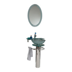 "Fresca - Fresca Ovale Glass Vanity w/ Frosted Edge Mirror - Dimensions of vanity:  24""W x 19.5""D x 34.5""H. Dimensions of mirror:  24""W x 31.5""H. Materials:  Tempered glass countertop/vessel sink, stainless steel. Single hole faucet mount. Glass shelf. P-trap, faucet, pop-up drain and installation hardware included. This simply constructed jewel tone chrome stand and gently sloping tall clear glass basin are ideal for simple living with a touch of class and modern charm.  Versatile for any decor.  Quietly interesting and chic without being disruptive."