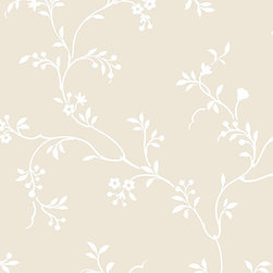 Floral Vine in Tan and White - AB27670 - Collection:Abby Rose 2
