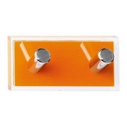 Gedy - Orange Double Hook made of Thermoplastic Resins - A luxury robe hook for your quality personal bathroom. Available in orange and made in thermoplastic resins, this very high quality towel hook is designed and built in in Italy by Gedy and is part of the Gedy Rainbow collection. Consider this round robe h