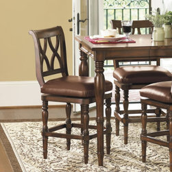 Montgomery Counter Stools | Ballard Designs - Hard wood and double x back design give these stools a strong profile.