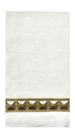 Baguette Guest Towel - Ivory/Silver - A powder room essential as elegant as it is practical. The Baguette Guest Towel - Ivory/Silver bestows a glimpse of glam to the bath and offers your guests softened and refined comfort. The silver and ivory hues allow for ease in blending with the appurtenances of transitional baths either subtle or bold in color.