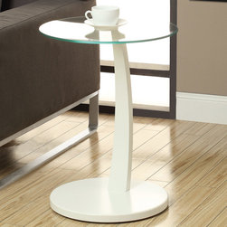 Monarch - White Bentwood Accent Table With Tempered Glass - This bentwood accent table provides a convenient solution for placing snacks or drinks while sitting on a sofa. A circular white base and stand offer sturdy support, while a tempered glass top has plenty of space for putting a cup of tea, bag of popcorn, or bowl of ice cream. Its structure is also curved gently forward so you don't have to constantly get up or uncomfortably stretch to set your snacks aside. Functional and stylish, this piece is a must-have for any living room.
