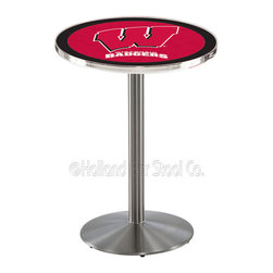 "Holland Bar Stool - Holland Bar Stool L214 - Stainless Steel Wisconsin Pub Table - L214 - Stainless Steel Wisconsin Pub Table belongs to College Collection by Holland Bar Stool Made for the ultimate sports fan, impress your buddies with this knockout from Holland Bar Stool. This L214 Wisconsin ""W"" table with round base provides a commercial quality piece to for your Man Cave. You can't find a higher quality logo table on the market. The plating grade steel used to build the frame ensures it will withstand the abuse of the rowdiest of friends for years to come. The structure is 304 Stainless to ensure a rich, sleek, long lasting finish. If you're finishing your bar or game room, do it right with a table from Holland Bar Stool. Pub Table (1)"