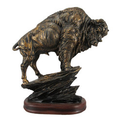 Antiqued Bronze Finish American Buffalo Statue Bison - This statue of an American Buffalo standing on a rock outcropping stands 10 1/4 inches tall, is 9 1/2 inches wide and 4 inches deep. Made of cold cast resin, it has a metallic bronzed finish, rubbed with black paint, to give it the look of old metal. It makes a great gift for wildlife lovers.