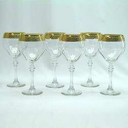 None - Italian Wine Glass with Gold Rim (Set of 6) - Build your stemware collection with this stunning Italian wine glass set from Three Star. Each glass in this six-piece set stands eight inches high and features a detailed stem and a dramatic gold rim that enhances your dinner experience.