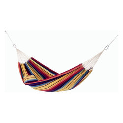 Barbados Hammock, Extra Large, Rainbow - A colorful backyard wouldn't be complete without a rainbow hammock. String it up between two trees and really enjoy the summer.