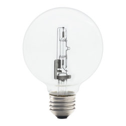 Bulbrite - 72-Watt Eco-Friendly Clear Halogen G25 Globe - One pack of 12 Bulbs. Compliant with EISA 2012 Incandescent general service restrictions. Energy Saving. Lamp Type: Halogen. Color: Warm White. Color Temperature: 2900K. Dimmable. Wattage: 72. Voltage: 120. AMPs: 0.6. Avg Hours: 1000. Lumens: 1490. Equivalency: 100 Watts. Color Rendering Index (CRI): 100. Beam Spread: 360 degrees. Shape: G25. Maximum Overall Length (MOL): 17. 17 in. L x 4 in. W x 1.5 in. H (0.114 lbs.)A more energy efficient standard household bulb, compliant with EISA legislation