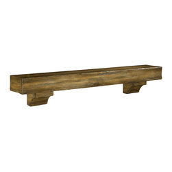 "Pearl Mantel - The Shenandoah Mantel Shelf, Dune Distressed Finish, 72"" - Room at the top: All your beloved mementos, photos and treasures can rise above the general milieu by taking up residence on a charming if rustic wood shelf."