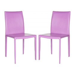 Safavieh - Karna Dining Chair  (Set Of 2) - The minimalist aesthetic of the Karna dining chair (sold in a set of two) suits decorating tastes both transitional and contemporary. Upholstered with easy-care purple bonded leather, these sturdy chairs exude Euro-chic style.