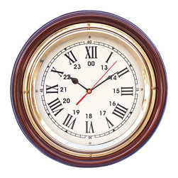 "Handcrafted Model Ships - Ships Time Clock 12"" Brass Ship Clock Decorative Wall Clocks Brass Clock - New - The Hampton Nautical Ships Time Clock can accent any wall and give it a subtle nautical theme. This solid brass rosewood clock features a brass trim and fully functional clock. The clock features Roman numerals for each hour and also the military digit equivalent. The clock is embedded inside a brass finish and protected by a glass cover to protect from damage. This clock requires AA batteries to operate (not included)."