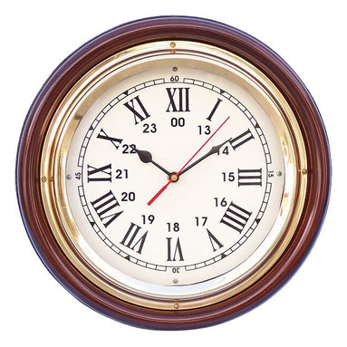 """Handcrafted Model Ships - Ships Time Clock 12"""" Brass Ship Clock Decorative Wall Clocks Brass Clock - New - The Hampton Nautical Ships Time Clock can accent any wall and give it a subtle nautical theme. This solid brass rosewood clock features a brass trim and fully functional clock. The clock features Roman numerals for each hour and also the military digit equivalent. The clock is embedded inside a brass finish and protected by a glass cover to protect from damage. This clock requires AA batteries to operate (not included)."""