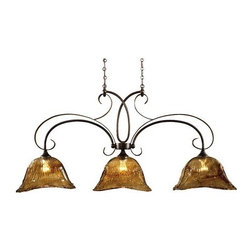 Uttermost - Uttermost - Vetraio Kitchen Island Light in Oil Rubbed Bronze - 21009 - The light fixtures from the Vetraio Collection are finished in a bold oil rubbed bronze and topped off with enticing toffee art glass diffusers, which refract and reflect a substantial amount of light. The heavy hand made glass is held in classic European iron works giving this piece a contemporary quality, with strong traditional appeal as well.