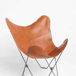 Leather Butterfly Chair - A leather Butterfly chair that won't brake the bank! Love the cognac color.