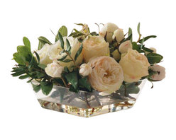 Winward Designs - Rose In Glass Flower Arrangement - You can't go wrong with a striking display of romantic roses and greenery until, of course, the petals start to brown and droop. Why not treat yourself to a centerpiece that will keep its pristine beauty? Set this low-profile design on the coffee table or breakfast nook for year-round enjoyment.