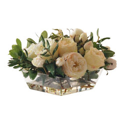 Winward - Roses In Glass Vase 7.5'' - You can't go wrong with a striking display of romantic roses and greenery until, of course, the petals start to brown and droop. Why not treat yourself to a centerpiece that will keep its pristine beauty? Set this low-profile design on the coffee table or breakfast nook for year-round enjoyment.