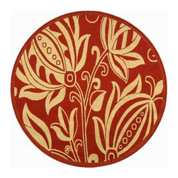 Andros Red Indoor/ Outdoor Rug (6'7 Round) - What can I say? I'm a sucker for big graphic flower patterns and circular rugs so this one fits the bill all around. It comes in several different colors and the color on the pattern can be transposed so the red is more in the background. This version really provides a colorful focal point if one is lacking in your outdoor space.