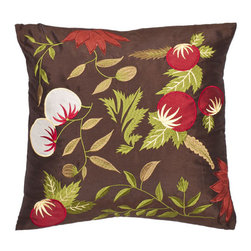 Safavieh Home Furniture - Multi and Brown 18-Inch Decorative Pillows Set of Two - - This 18-inch Brown / Green Decorative Pillows (Set of 2) is intriguing as a Renaissance still life this pillow features a mTlange of appliquTs. Accents of green and red combined with oriental cherry blossoms fruit and flowers highlight the satin embroidery against a dark brown satin polyester ground.   - Multi / Brown  - Some assembly required - Yes  - Please note this item has a 30-day manufacturer's limited warranty that covers product defects. Inspect your purchase upon delivery and notify us immediately with any concerns. Safavieh Home Furniture - PIL806A-1818-SET2