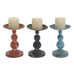 """Benzara - Candle Holder Assorted Solid and Durable - Set of 3 - This awesome set of 3 metal candle holders comes in striking colors. Created to finesse with a sturdy metal, this set of candle holders ensures they stay with you for a long time. With an ability to hold even broad designer candles perfectly, these candle holders with their circular rim ensure that the melted candle is not scattered all over the place and is collected in the stand itself. It is sure to match the interior setting of any modern home. The elegant look and the stylish design makes this candle holder a lovely piece to own.; Complements traditional and modern decor; Can hold broad designer candles comfortably; Sturdy and durable for years; Constructed with high quality metal; Weight: 0.97 lbs; Dimensions:8""""W x 8""""D x 11""""H; 8""""W x 8""""D x 11""""H; 8""""W x 8""""D x 11""""H"""