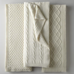 "Sofia Cashmere - Sofia Cashmere Fisherman's Cable Knit Cashmere Throw - Treat yourself to the luxury of a pure cashmere throw in ivory. These posh throws are one warming trend that will never go out of season. Choose diamond cable, basketweave, or fisherman's cable pattern. Each is 56""W x 72""L. Dry clean. By Sofia Cash..."