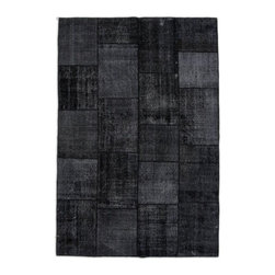 """Pre-owned Deep Charcoal Overdyed Turkish Patchwork Carpet - Traditional Turkish patterns from an assortment of vintage pieces mix to make this hand made, naturally distressed vintage rug. Full cotton backing and decorative blanket stitch edging.     Remnants of vintage wool on a cotton warp, made entirely by hand in the '60's through '80's when Turkish women still included weaving in their daily homemaking chores. Employing the sturdy double knot technique unique to Turkish rugs, multicolor floral and medallion motifs were created a row at a time using bright hand dyed wools. Considered too old fashioned for modern Turkish homes in their traditional incarnations, these rugs have languished in back rooms of the bazaars‰Ű_until now, as these fragments in excellent condition are overdyed and combined to create modern patchwork statements for the floor.    Note from the seller: """"Our revitalization process keeps rugs that may otherwise get tossed out of landfill. Repurposed discards are helping artisans connect and create, supporting the community we're building here in Istanbul to revive vanishing traditional fiber crafts.‰Űť    Please note that all sales are final - These amazing rugs are coming direct from Istanbul, Turkey and returns will not be allowed."""