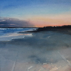 """Evening Falls"" (Original) By Heather Rippert - The Sun Setting Over The Beach, Casting Beautiful Shadows And The Lights Of The Homes Twinkling As The Evening Falls, Gives A Warm Feeling In The Heart..."
