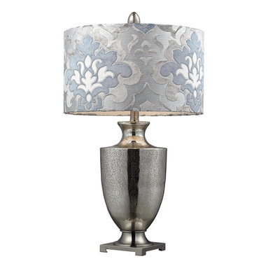 Dimond - Dimond Langham Transitional Table Lamp X-P8422D - From the Langham Collection, the classic but stripped down urn shape of this Dimond Lighting table lamp adds a modern appeal. The Antique Mercury Glass finish has been paired with Polished Chrome accents to highlight the curvilinear body. The blue and gray colored damask drum shade adds flair and interest.