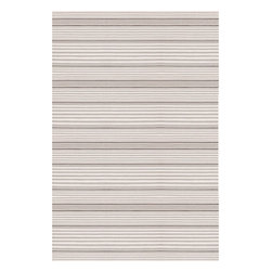 Dash & Albert - Beckham Stripe Platinum Indoor/Outdoor Rug, 6 X 9 - A rug for all seasons. Made of superheroic polypropylene, our indoor/outdoor area rugs are terrific for high-traffic areas and muddy messes. Scrubbable, bleachable and UV-treated for outdoor use, this collection of woven rugs can stand up to all that you dish out.
