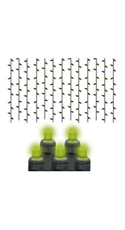 Seasonal Source - 105 5MM Lime Frost LED Halloween Lights, Black Wire - Halloween is the second largest holiday for decorating, and also the most imaginative. Hang our Lime Frost Icicle lights from the roof line of your house to create an eerie effect.