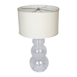 Used Snowman Glass Lamp - This clear glass lamp base comes with a natural-colored silk shade. 100 watts max and a 3-way switch. It's sure to brighten any room! Looking for a pair? We have 2 available. Please contact support to purchase the set.