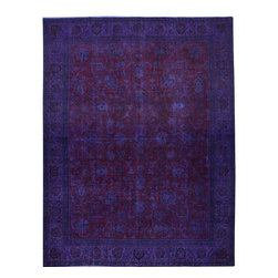 """ALRUG - Handmade Blue Persian Antique Overdyed Rug 9' 7"""" x 12' 5"""" (ft) - This Persian Overdyed design rug is hand-knotted with Wool on Cotton."""