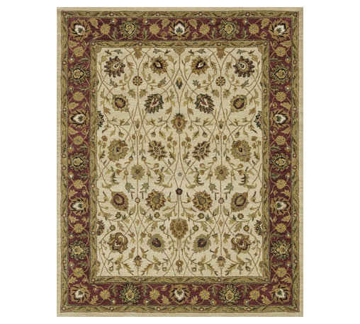 """Loloi Rugs - Loloi Rugs Maple Collection - Ivory / Red, 7'-9"""" x 9'-9"""" - Transform your home into a manor steeped in elegance and tradition with the majestic Maple Collection. These timeless Persian designs carry the rich heritage of centuries of carpet making in each arabesque, stylized flower and intricate border. Maple Collection rugs are hand-tufted in India of 100-percent wool so they are eco-friendly and mindfully crafted with sustainable materials. With colors as rich as these, you will feel like nobility every time you walk into your home."""