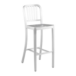 """Eurø Style - Cafe Matte Aluminum Adjustable Bar Stool - Constructed of lacquered aluminum with a brushed finish, the simple modern style of the Cafe Matte Aluminum Adjustable Bar Stool - Eurø Style will look great in any decor! The frame is made from sturdy but lightweight aluminum and has a 30"""" seat height."""