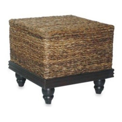 Jeffan - Jeffan International Tropical End Table Abaca Small Astor w/Storage - A richly-finished accent, you'll instantly feel the British Colonial styling of this tropical end table.