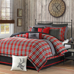 Woolrich - Woolrich 'Williamsport' Plaid 4-piece Comforter Set - Update your bedroom with this four-piece comforter set. Featuring a plaid pattern that gives it a traditional look, this set includes a comforter, a bedskirt, and two shams, and the comforter has a polyester fill to keep you warm and cozy.