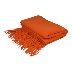 "Pur by Pur Cashmere - Signature Blend Throw Persimmon 50""x65"" With 6"" Fringe - Merino wool throw. 100% merino wool Dry clean only. Inner mongolia."