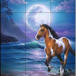 The Tile Mural Store (USA) - Tile Mural - Appaloosa Dreams - Jw - Kitchen Backsplash Ideas - This beautiful artwork by Jeff Wilkie has been digitally reproduced for tiles and depicts a horse running on the beach at night  This tile mural with images of horses on tiles would be perfect as a part of your kitchen backsplash tile project. Decorative horse themed tiles make an impressive kitchen backsplash idea. You can use a tile murals with horses in the bathroom too as part your tub and shower surround tile project.