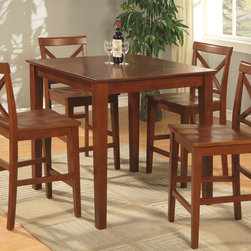 """East West Furniture - 5Pc Pub Set with 39"""" Square Counter Height Table and 4 Wood Seat Stools - 5Pc Pub Set with 39"""" Square Counter Height Table and 4 Wood Seat Stools; The Pub Set has contemporary styling to complement any decor.; This dinette is ideal for a small kitchen or dining area.; It has durable construction with Asian solid wood, available in two lovely finishes -- oak or rich brown.; The square table has simple, straight legs, and the table top has a straight-edged border.; The counter-height stools feature attractive X-backs with a choice of wood seats or neutral-colored, upholstered seats.; Weight: 116 lbs; Dimensions: Table: 36""""L x 36""""W x 36""""H; Stools: 18""""L x 17""""W x 41.5""""H"""
