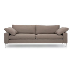 Bryght - Nova Light Brown Metal Leg Sofa - The Nova collection characterizes a Danish design that elegantly unifies modern minimalist lines with functionality. Upholstered to perfection in a Light Brown fabric that brings forth elements of harmony and affinity to your space.
