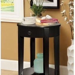 Furniture of America Round Side Accent Table with Storage Drawer - With its round shape and contemporary look, the Furniture of America Round Side Accent Table with Storage Drawer fits into any spot. Perfect in smaller spaces, this side table has a round top, single drawer with decorative knob, and lower display shelf. It comes in your choice of select finish options.About Enitial LabBased in California, Enitial Lab has established itself as a premier provider of fine home furnishings. The people behind Enitial Lab brand are moved by passion, hard work, and persistence. They're always striving to design the latest piece, keeping in mind their mission to make quality furniture available to urban-minded shoppers, without compromising the packaging integrity. Enitial Lab offers unique, coordinated, and affordably designed furniture; they're a one-step resource in the furniture industry for both high-quality pieces as well as secure and professional packaging.