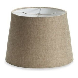 Jimco Lamp Company - Mix & Match Medium 14-Inch Linen Drum Lamp Shade in Tan - This tan, heavily woven linen hardback drum lamp shade with a standard top ring features rolled edges on top and bottom. Spider shade attachment utilizes a harp for easy attachment to a saddle lamp base.