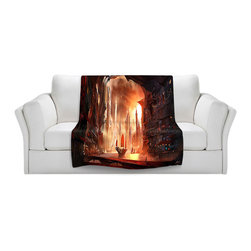 DiaNoche Designs - Throw Blanket Fleece - Future Harbor - Original Artwork printed to an ultra soft fleece Blanket for a unique look and feel of your living room couch or bedroom space.  DiaNoche Designs uses images from artists all over the world to create Illuminated art, Canvas Art, Sheets, Pillows, Duvets, Blankets and many other items that you can print to.  Every purchase supports an artist!