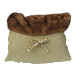 Jypsea Leathergoods - Miss Virginia Leather and Fur Throw Pillow - How sweet is Miss Virginia?!! Made from a beige leather skirt and mink fur shawl, she has a gold and white decorative bow because she's SUCH A LADY. One-of-a-kind and handcrafted from the finest upcycled skins.