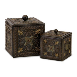 """IMAX CORPORATION - Arabian Nights Lidded Boxes - Set of 2 - Arabian Nights metal lidded boxes, set of two. Set of 2 in various sizes measuring around 17""""L x 9.25""""W x 9.25""""H each. Shop home furnishings, decor, and accessories from Posh Urban Furnishings. Beautiful, stylish furniture and decor that will brighten your home instantly. Shop modern, traditional, vintage, and world designs."""