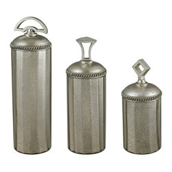 Sterling Lighting - Sterling Lighting Halten Set Of 3 Antique Mercury Glass Jars - Shimmering accessories are back in vogue. This set of Halten Antique Mercury Glass Jars by Sterling provide a warm luster/ sparkle/ interest and refreshing contrast in any room. Grouped together they can help fill an empty corner and soften harsh angles. These jars have an aged quality but with an updated look and will look gorgeous over a mantel/ on a bookshelf/ in the bathroom or on a table. Sold in a set of 3/ the jars are all 6 inches in diameter and vary in height- the large is 20 inches tall/ medium 18 inches tall/ and small 15 inches tall.