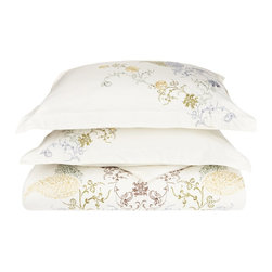 Hyacinth 3 Piece Duvet Cover Set - Full/Queen - Give yourself the sleep and the style you deserve with the Hyacinth 3 Piece Duvet Cover Set. Featuring an embroidered floral design this set will be sure to please. Set includes One Duvet Cover 90x92 and Two Pillowshams 20x26.