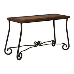 Artisan Home Furniture - Artisan Home Santa Clara Sofa Table w/ Copper Top & Iron Base - The firing gives the copper its many variations and makes each top a work of art. No two tops will match, but are finished to blend together. Distressing gives a rustic appeal, while the lacquer finish protects and adds durability to the wood.