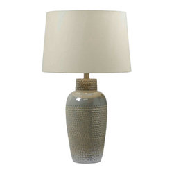 Kenroy Home - Kenroy Home 32107 Single Light Table Lamp from the Dixey Collection - Kenroy Home 32107 Transitional Single Light Table Lamp from the Dixey CollectionOn the outside Facade has an Iridescent Ceramic finish that adds a lively quality to its large urn base and skillfully hammered texture. But on the inside it's a very different story!Features: