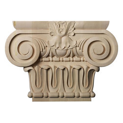 """Ekena Millwork - 12 7/8""""W x 6 1/4""""BW x 2 5/8""""D x 9 1/8""""H Large Bradford Roman Ionic Capital (Fits - Our wood capitals are finely carved after traditional styles and design.  These capitals are primarily used against the wall complimented with the appropriate size trim or casing to give the opening a look of a supporting column.  They come to you fully sanded and ready for your paint, clear-coat, or stain."""